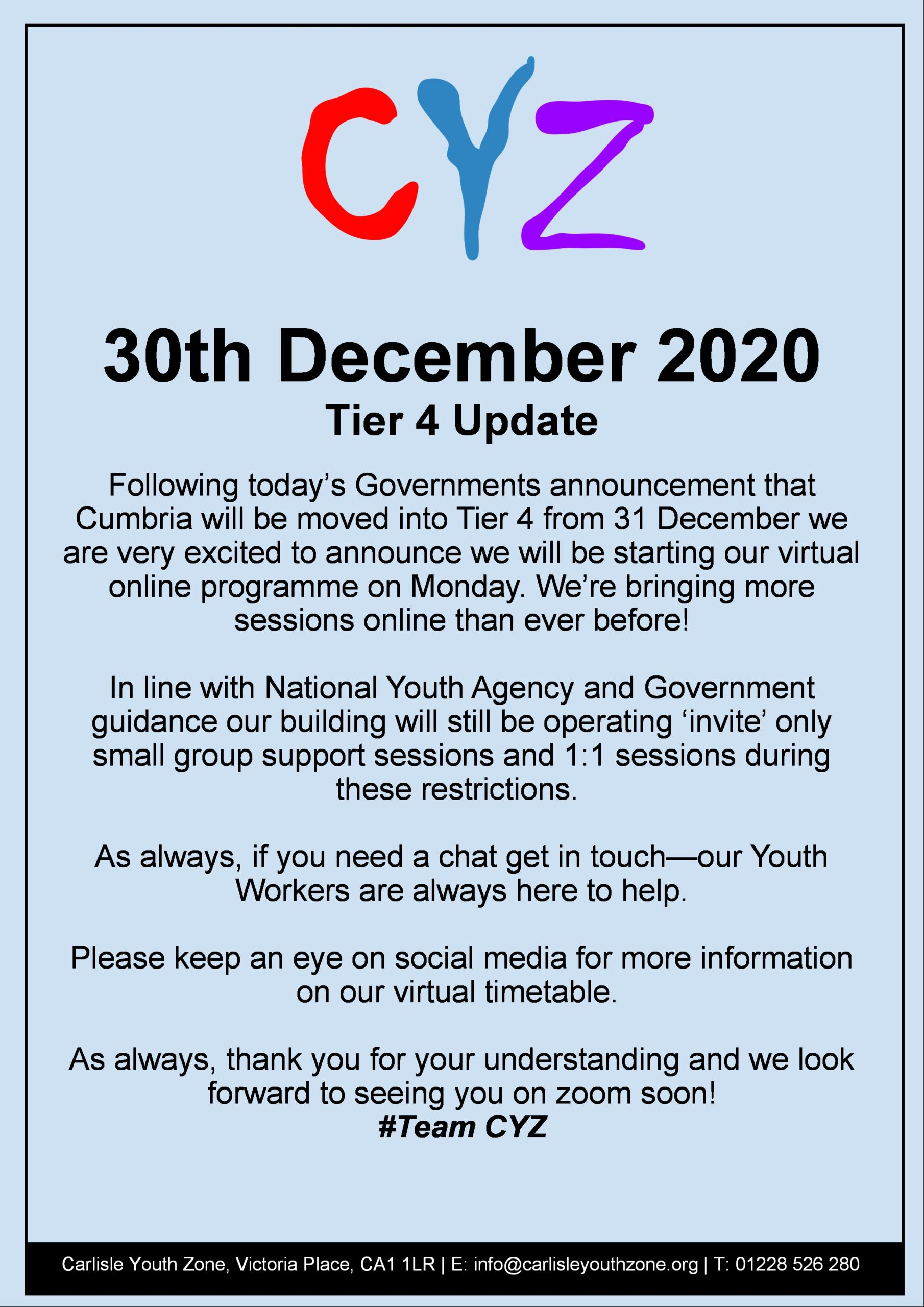 Graphic of Covic 19 Tier 4 Statement from 30th December